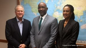 American Airlines representative Gary Alfson, Minister Hon. Claret Connor and Marla Chemont from the St. Maarten Tourist Bureau.