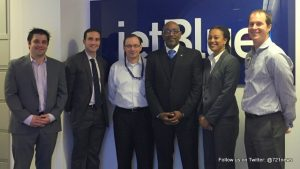 Jet Blue representatives, Minister Hon. Claret Connor (3rd from right) and Marla Chemont (2nd from right) from the St. Maarten Tourist Bureau.
