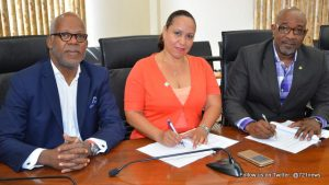 L to R: Chief of Staff Jean James, President of the Chamber of Commerce & Industry Peggy-Ann Brandon and Minister of TEATT Hon. Claret Connor.