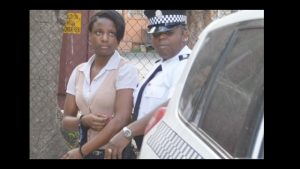 Irene Mars being escorted from the High Court in Road Town. Photo BVI News