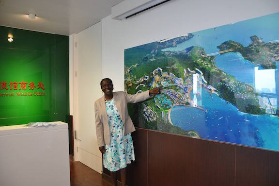 Above: Foreign Minister Clarice Modeste-Curwen explaining the project in China