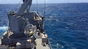 Crew of the Zr Ms Pelikaan assisting the Nature Foundation with placing mooring blocks in the Man of War Shoal Marine Protected Area