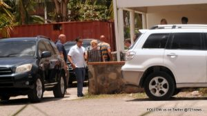 On 26 June, 2015 the Judge of Instruction, Public Prosecutor, Lands Recherche, RST team up and did a House Search at two location  the first one was a office on Roses Road and the second was at the Buncampers residence in St John's. These search is in connection with the up coming court case in September. at the first loaction a safe and diffrent plastic containers with what we assume is documents was remove by the authorities in the interest of the investigation. Photo 721news.com