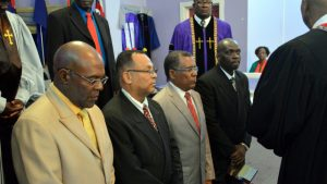 Four new bishops have ordained in the Church of God of Prophecy. (left to right) Bishop Amador Shepherd, Bishop Alfred Lafaille, Bishop Israel Jimenez and Bishop Hopeton Buchanan. (COGOP Leeward Photo)