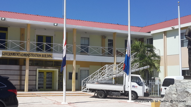 Government Administration Building is seen at half mast