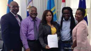 Minister C. Connor, BTPSXM Director A. Carty, COCI President P.A. Brandon, USM President F. Guadeloupe and MP T. Leonard