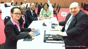 SXM delegation at meeting with Mark Ellinger, BlueSky Airlines' Chief Commercial Officer. (SXM photo)