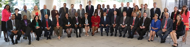 PHOTO CUTLINE: Sint Maarten's Representative Dr. Virginia Asin (left 11th standing) with representatives and delegates from 35 PAHO Member States.