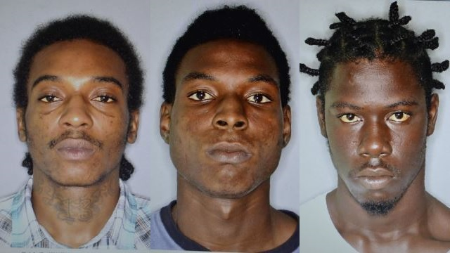 L to R: Nigel Phillip aka Abkim Bryant of Cleverly Hill, Sandy Point was charged and cautioned for the attempted murder of Jermain Browne of The Alley, Sandy Point. Sylvester Harris of Conaree Village was charged with the murder of Livingston Moore of Conaree and the Attempted Murder of Shawn Rogers, which occurred on 16th February 2015. Kevon Hamilton of St. Pauls was charged with the murder of Ernest Hendricks of Palmetto Point, which occurred on June 24th 2015.