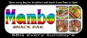 Come and enjoy a great BBQ at mambo's We serve chicken,ribs, fry snapper fillet , chicken and shrimps brochettes with creole sauce …all that served with rice and peas or fries and 2 differents sides of salads. Desserts and smoothies . Mambo is situated at the look out point, by the 3 islands after French OysterPond
