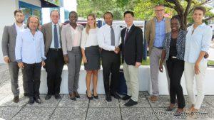 Left to right: Ramzy Dennaoui, Arnauld Benet, Jim Rosen, Sidiane Laker, Iris Blokpoel, Dr. Louis Jeffrey, Minister Emil Lee, Kees Klarenbeek, Fenna Arnell, Joanne Dekker