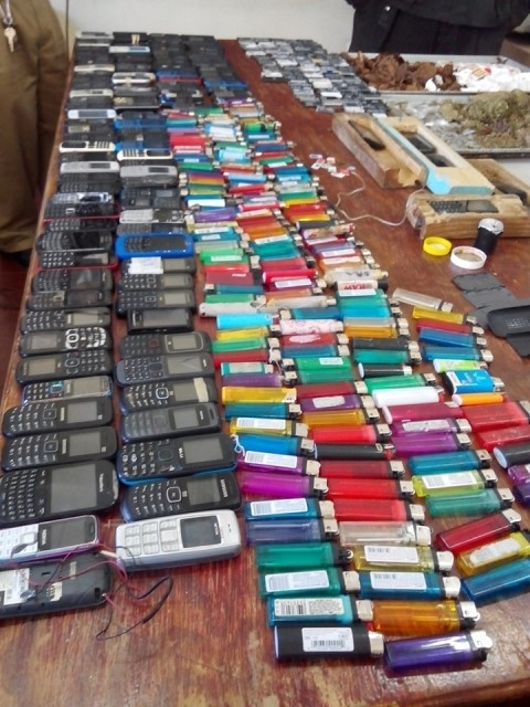 125 cell phones and 160 lighters were recovered in the search operation.