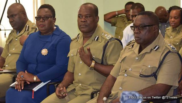 Members of the High Command. Deputy Commissioner Hilroy Brandy, Assistant Commissioner's Andre Mitchell, Merclyn Hughes and Terrance James.