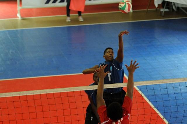 Agustin Faulkner of Saint Lucia spikes against Dutch Saint  Marrten_ 01
