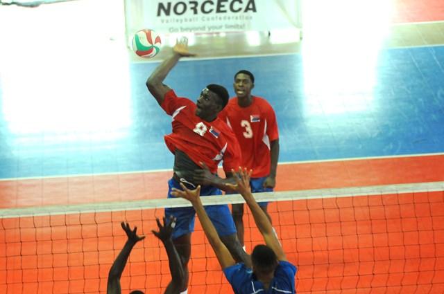 Shaquille Rombley  of Dutch Saint Marrten spikes against  Saint Lucia_01