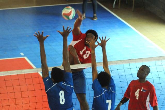 Shiovanni Levenstone of Dutch Saint Marrten spikes against  Saint Lucia_02