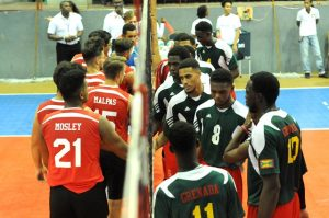 Team Bermuda shake their hands before the match Grenada