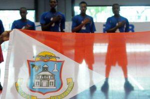 Team of Dutch Saint Marrten during the national anthem against British Virgin Islands