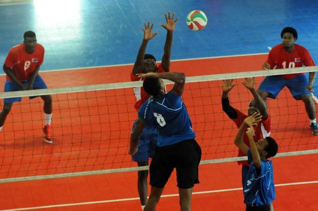 Tevin STjean of Saint Lucia spikes against Dutch Saint  Marrten_ 01