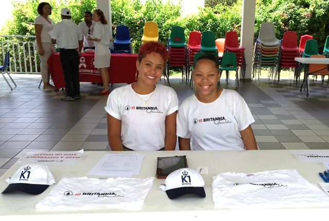 L-R , K1 Britannia Foundation Project Managers Yasmine Essed and Chiaira Bowers at St. Dominic High School Volunteer Fair