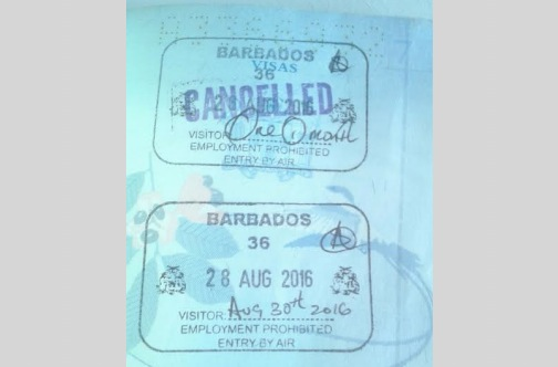 King's passport shows two stamps — the first one depicting her being denied entry, then a cancellation of that denial and the second showing where she was granted a two day stay in Barbados