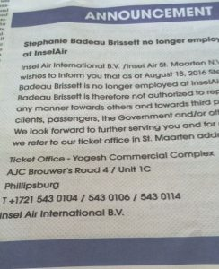 Inselair announcement in the local newspaper