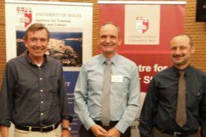 From left to right: Professor Andrew Jones (University of Malta, co-organizer), Arjen Alberts, Professor Baldacchino (University of Malta, co-organizer)